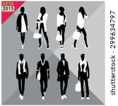 set of man and women silhouette ... | Shutterstock .eps vector #299634797