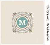 monogram logo template with... | Shutterstock .eps vector #299653733