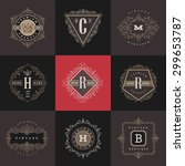 set of monogram logo template... | Shutterstock .eps vector #299653787