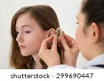 close up of doctor inserting... | Shutterstock . vector #299690447