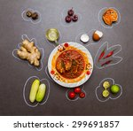 group of indian spices and... | Shutterstock . vector #299691857