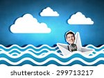businessman escapes from the... | Shutterstock . vector #299713217