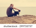 man and cat sitting on the... | Shutterstock . vector #299733737