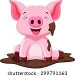 funny pig playing in the mud | Shutterstock .eps vector #299791163