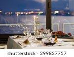 fine restaurant dinner table... | Shutterstock . vector #299827757