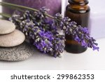 essential oil and lavender... | Shutterstock . vector #299862353