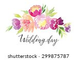 watercolor greeting card... | Shutterstock . vector #299875787