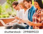 Digital World. Group Of Happy...
