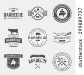 vector set of barbecue labels ... | Shutterstock .eps vector #299889737