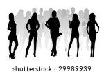 silhouette fashion girls | Shutterstock .eps vector #29989939