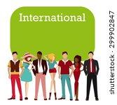 international crowd   Shutterstock .eps vector #299902847