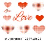 set of stickers love and heart. ...   Shutterstock .eps vector #299910623