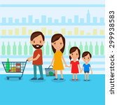 family at the supermarket flat... | Shutterstock .eps vector #299938583