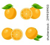 set of of oranges with leaves.... | Shutterstock .eps vector #299939903