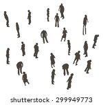 a crowd of people shown as grey ... | Shutterstock .eps vector #299949773