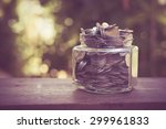 money in the glass with filter... | Shutterstock . vector #299961833