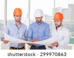 cheerful architect is showing... | Shutterstock . vector #299970863