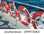 plastic orange lifebuoys are on ... | Shutterstock . vector #299973083