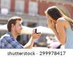 proposal in the street with a... | Shutterstock . vector #299978417