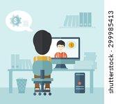 two asian businessmen is having ...   Shutterstock .eps vector #299985413