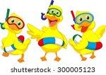 Happy Cartoon Duck With Buoys