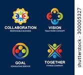 18 set of team work badge label ... | Shutterstock .eps vector #300005327
