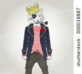 nautical poster  furry art ... | Shutterstock .eps vector #300018887