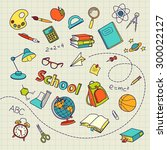 school doodle on notebook page... | Shutterstock .eps vector #300022127