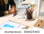 fashion designers working in... | Shutterstock . vector #300025403