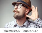 portrait of young hipster... | Shutterstock . vector #300027857
