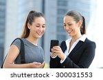 two businesswomen talking about ...   Shutterstock . vector #300031553