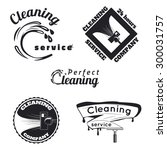 set of vintage cleaning service ... | Shutterstock .eps vector #300031757