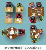 set of images. people siting... | Shutterstock .eps vector #300036497