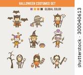 halloween kid costume character ... | Shutterstock .eps vector #300040613