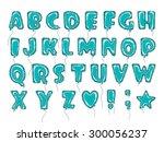 hand drawn balloon alphabet... | Shutterstock .eps vector #300056237