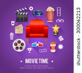 realistic cinema movie poster... | Shutterstock .eps vector #300062213