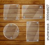 set of transparent glass plates ... | Shutterstock .eps vector #300066827