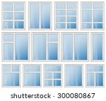 set of windows with different... | Shutterstock .eps vector #300080867