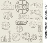 hand draw seo icons and symbols ... | Shutterstock .eps vector #300083747