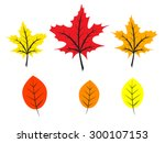 set of bright colorful autumn... | Shutterstock .eps vector #300107153