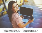 smiling girl with laptop and... | Shutterstock . vector #300108137