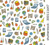 doodle seamless back to school... | Shutterstock .eps vector #300111647