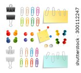 paper clips binders and pins... | Shutterstock .eps vector #300112247