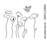 hand drawn poppy flowers and a... | Shutterstock .eps vector #300112883