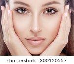 beautiful woman face studio on... | Shutterstock . vector #300120557
