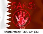concept open hand stop sars ... | Shutterstock . vector #300124133