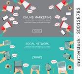 digital marketing and social... | Shutterstock .eps vector #300128783
