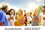 friends outdoors nature picnic... | Shutterstock . vector #300135407