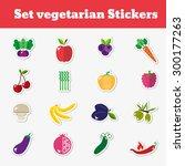 a set of vegetarian stickers... | Shutterstock .eps vector #300177263