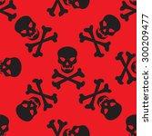 skulls and bones seamless... | Shutterstock .eps vector #300209477